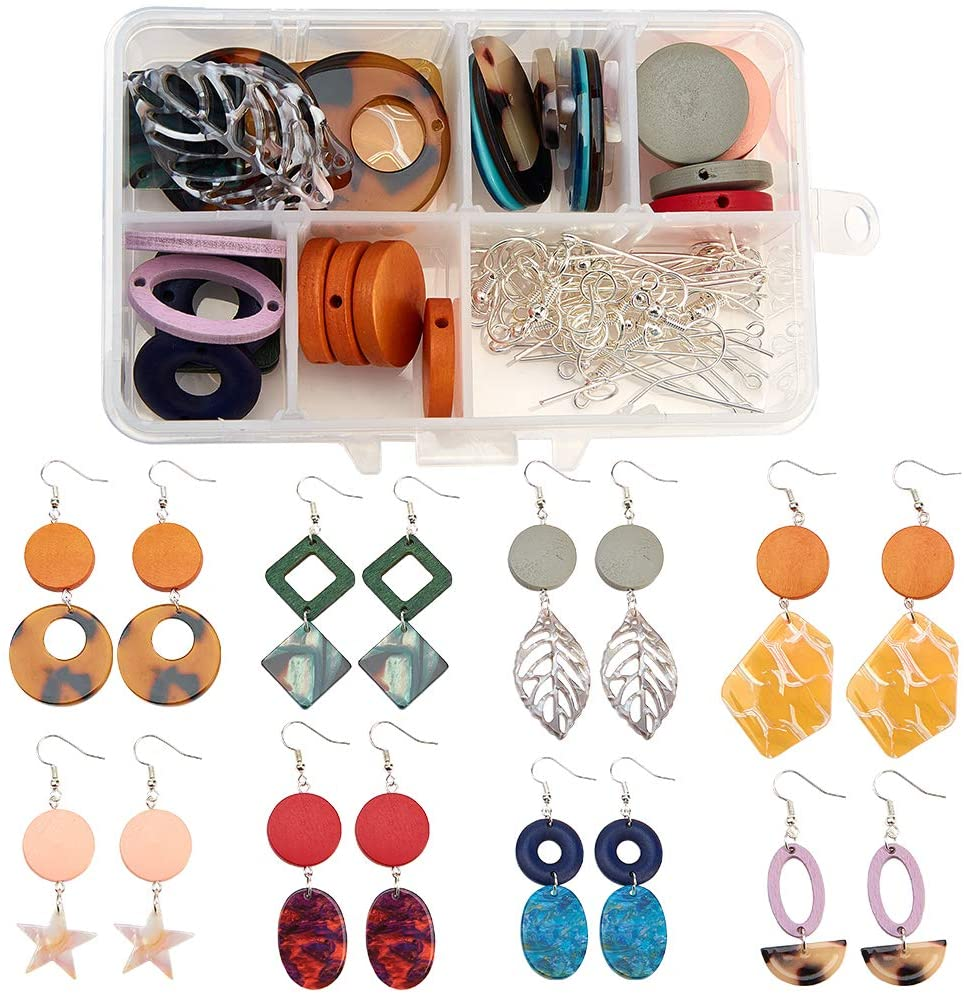 SUNNYCLUE 1 Box DIY 8 Pairs Earring Making Kit with Wood Links Beads, Resin Pendants, Brass Earring Hooks and Iron Findings Mixed Color for DIY Jewelry Making Earring Necklace Bracelet for Beginners