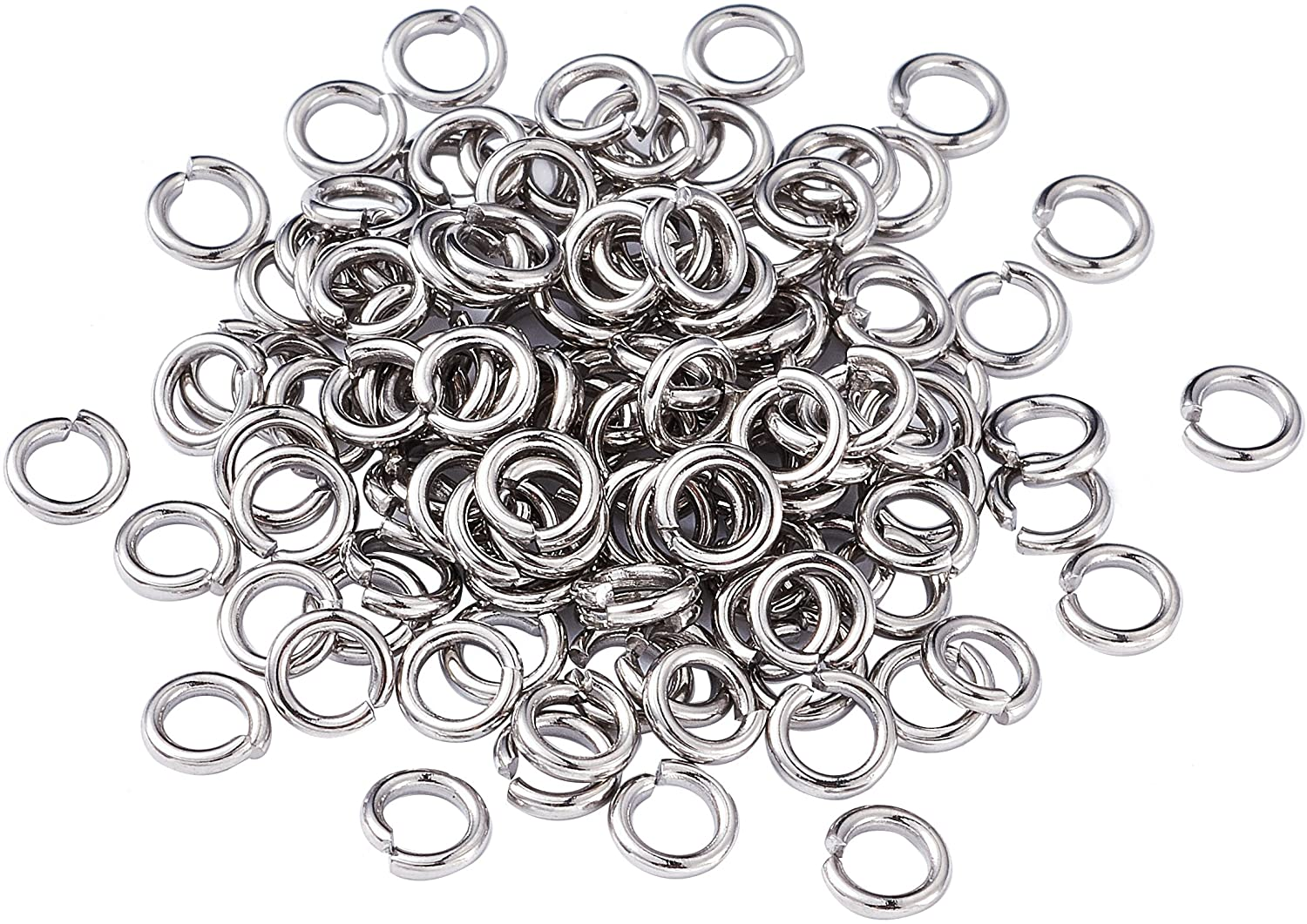 Kissity 2000Pcs 4mm Stainless Steel Open Jump Rings Connectors 0.8mm Thick Chainmail Making Jewelry Findings