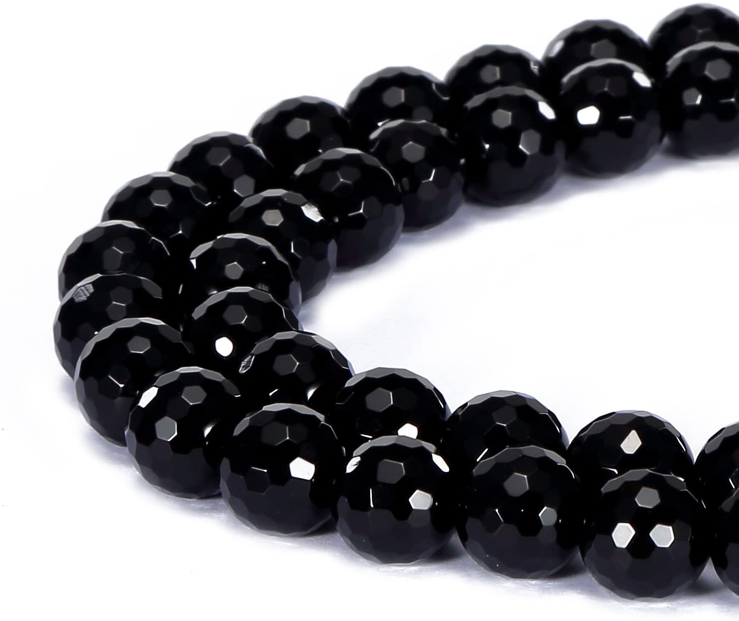 BRCbeads Gorgeous Natural Black Onyx Gemstone Faceted Round Loose Beads 6mm Approxi 15.5 inch 58pcs 1 Strand per Bag for Jewelry Making