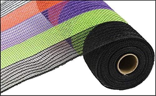 10 Wide Poly Jute Deco Mesh Black Purple Green and Orange Stripe (10 Yards)