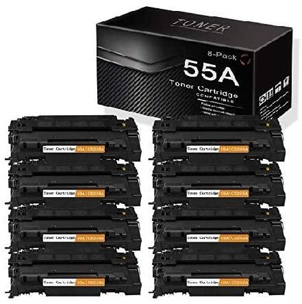 Black 55A   CE255A (8-Pack) Compatible and Replaceable for HP Laserjet P3015 P3015n P3015x Pro MFP M521dn M521dw Enterprise 500 MFP M525dn M525dn M525f Flow MFP M525c Printers Toner Cartridge.