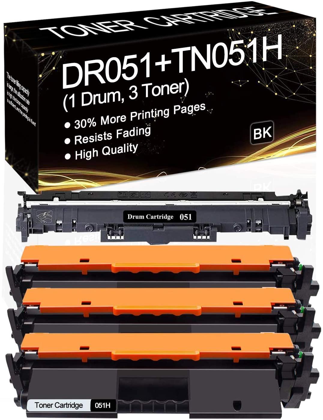 (1-Pack 051 Drum,3-Pack 051H Toner) Compatible Drum & Toner Cartridge Replacement for Canon i-SENSYS MF260 LBP260 Canon ImageCLASS LBP161dw MF263dw LBP160 Printer,Sold by SinaToner.