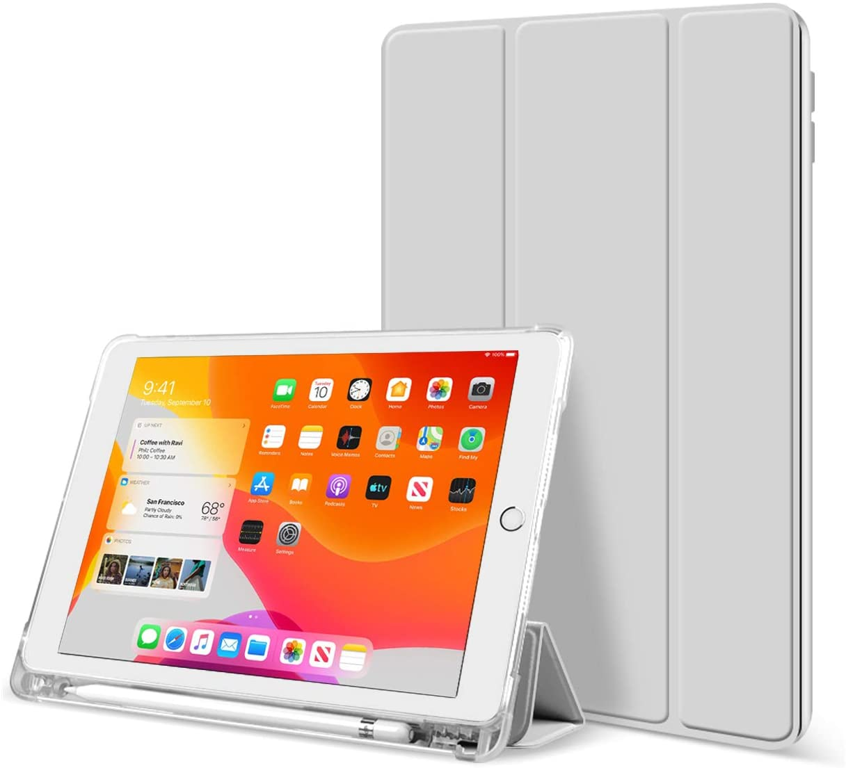 KenKe for iPad 10.2 Inch iPad 7th / 8th Gen 2019 2020 Tablet case with Pencil Holder -Lightweight Smart Shell Rugged Translucent Back Cover for iPad 7th Generation / iPad 8th Generation 10.2 (Gray)