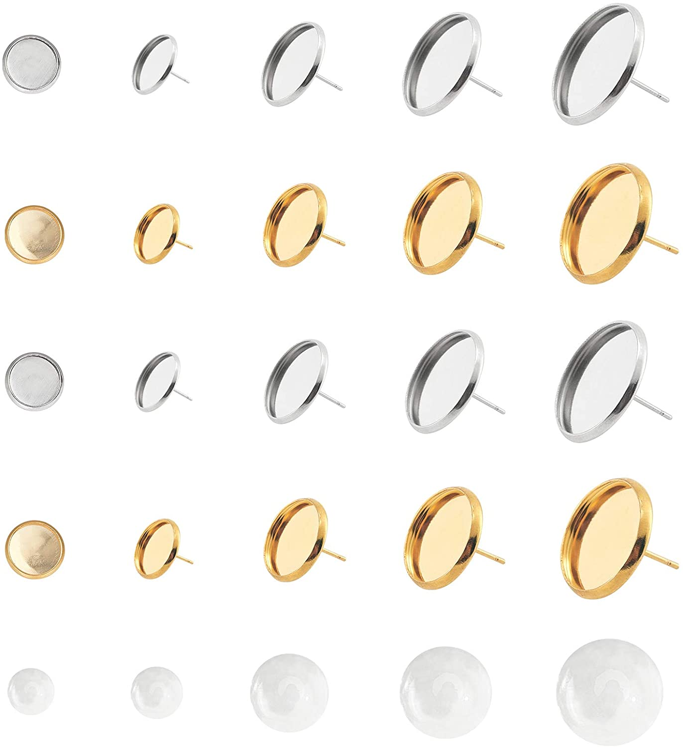 UNICRAFTALE 8 Sizes Earring Bezel with Half Round Cabochons 80 Sets Stainless Steel Stud Earring Cabochon Setting Earring Blank Bezel Tray for Earring Jewelry Making