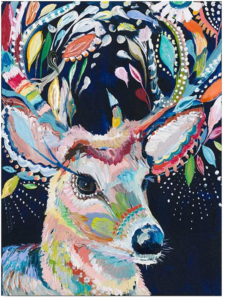 5D Full Drill Diamond Painting Kit, DIY Diamond Rhinestone Painting Kits for Adults and Children Embroidery Arts Craft Home Decor Colorful Deer 12 X 16 Inch