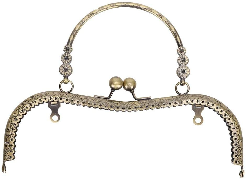Purse Frame,Delamn Purse Frame Tailor Accessories M-Shaped Embossed Hand-Pull 20.5cm Handmade Accessories with Flower-Shape