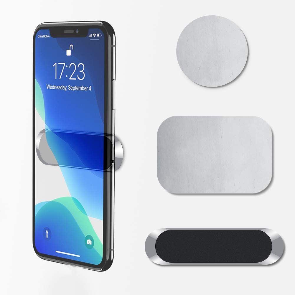 ZIYE Mini Magnetic Car Phone Mount Holder, Strong Magnetic and Adsorption, Multi-Scene Use Phone Holder for iPhone Android Smartphone Small Tablet Mobile Device-Silver
