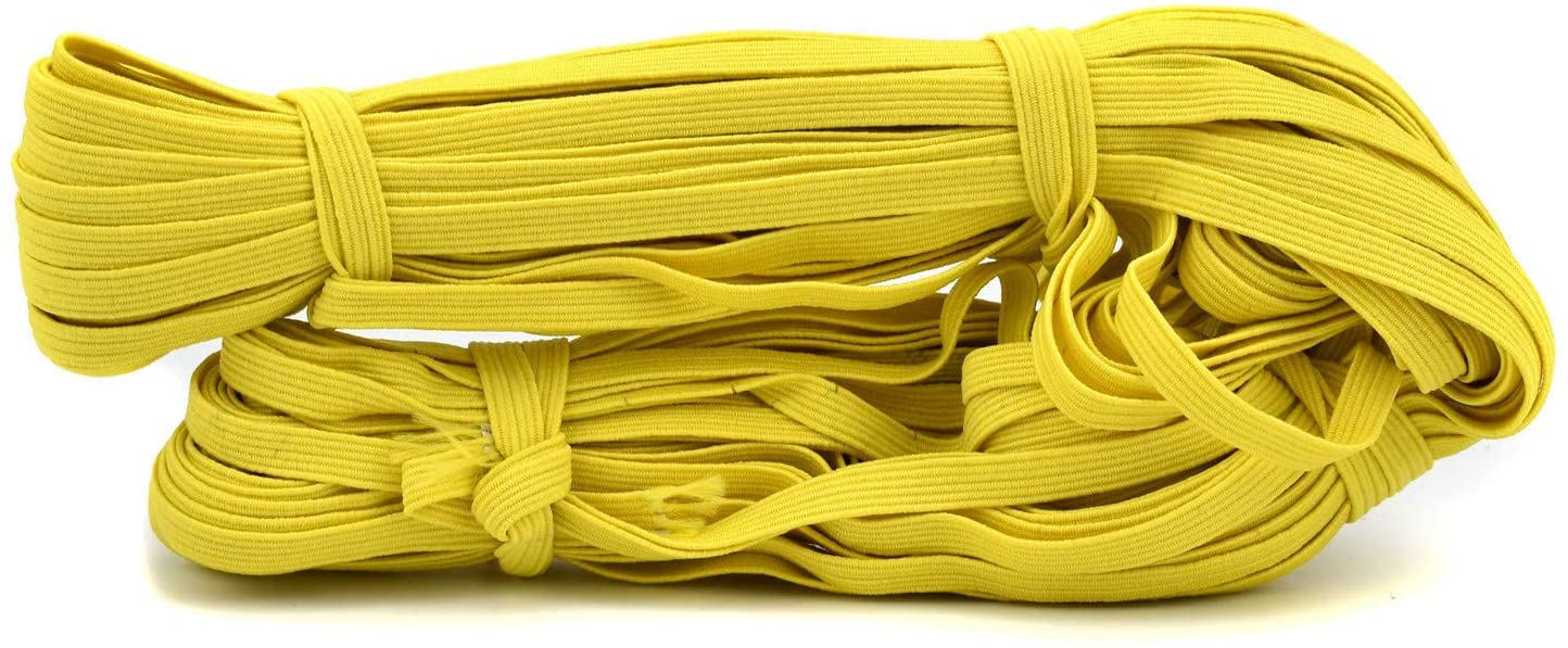 100FIXEO Elastic Band for Sewing 32.8Y Elastic String Sixteen Colors Heavy Stretch Elastic Band for Sewing Craft DIY for Face Mask (06# Yellow)