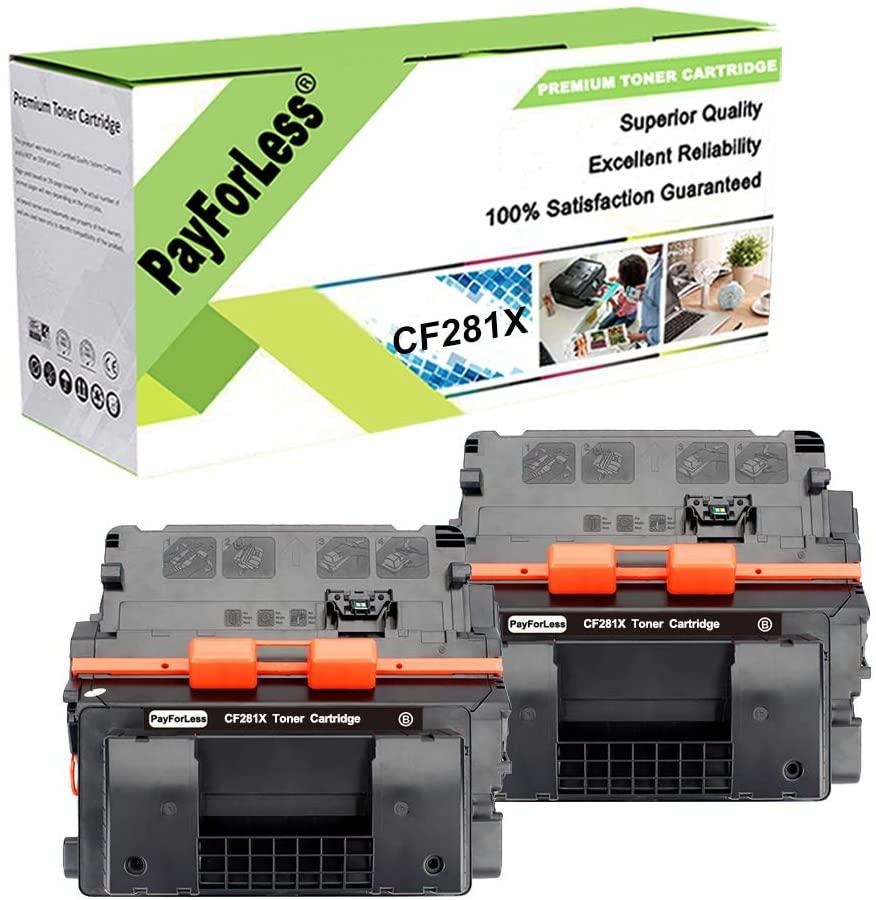 PayForLess 2PK for HP 81X CF281X 81A CF281A Toner for HP Laserjet Enterprise MFP M605 M604 M630h M630f M630z M606 M630 Printers