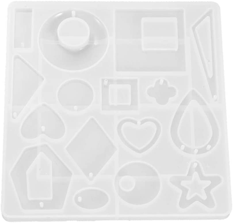 BESUFY Resin Molds,Silicone Epoxy Molds for Resin Casting Release Stress Halloween Christmas Home Decoration Crystal Star Love Heart Shape Earrings Pendant Homemade Tool - White