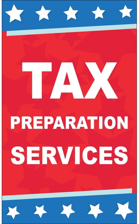 HPB CUSTOM | Tax Preparation Services Vinyl Banner-Indoor/Outdoor 5X3 Foot-Star | Includes Zip Ties|Easy Hang Sign-Made in USA