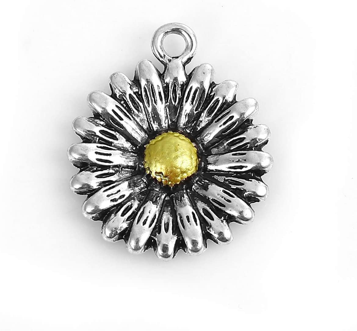 PEPPERLONELY 10pc Antiqued Silver Alloy Sun Flower Charms Pendants 24x20mm (1