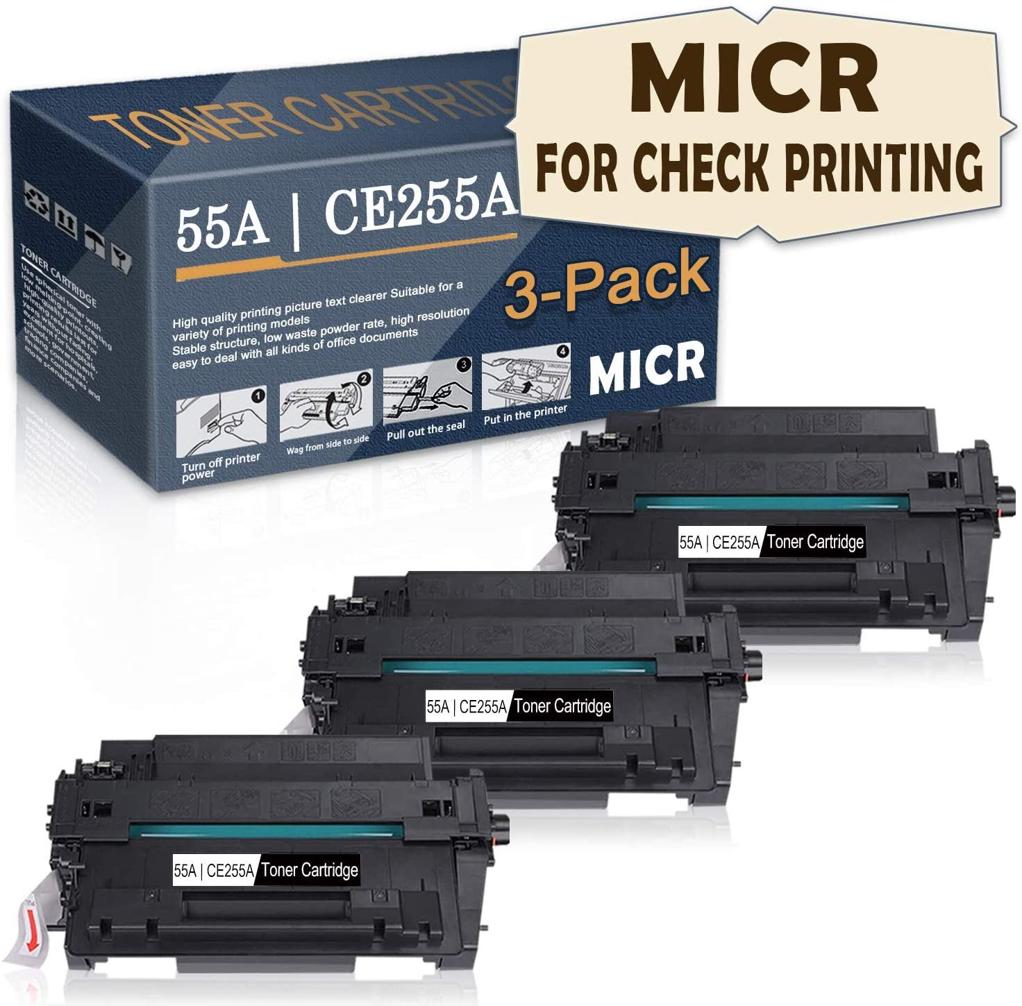 Satink Compatible 55A | CE255A MICR Toner Cartridge (For check printing) Replacement for HP LaserJet Pro MFP M521dn/ P3015n/P3015/P3015dn/P3015d/P3015x/M521dw/500 MFP M525f/M525c Printer,3 Pack Black.