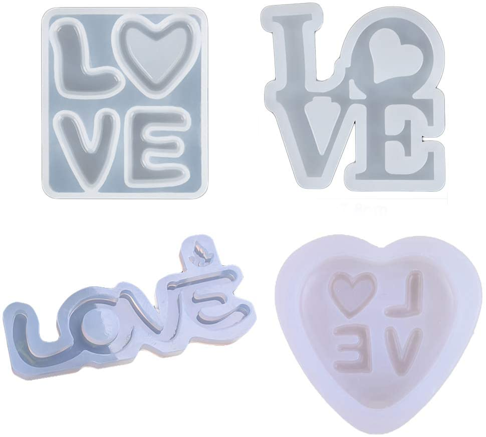 DYJKOUG 4 Pcs Handmade Tool Ornament Making Pendants Soap Jewelry Crafting English Casting Mold with Heart Letter Resin Love Sign Moulds