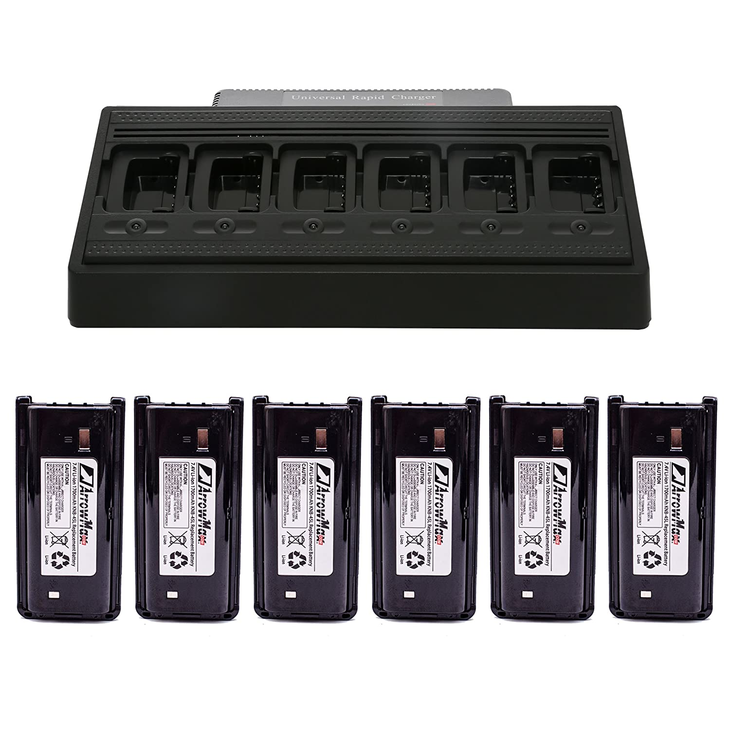 ArrowMax C6B6C0008 Battery Charger Bundle Package with 6 PCS 1700 mAH KNB-45L Battery for Kenwood