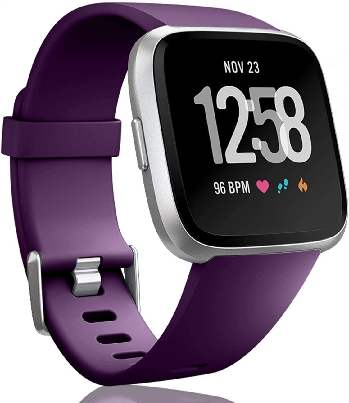 Bands Compatible with Fitbit Versa 2 and Fitbit Versa/Versa Lite/Versa Special, Soft Replacement Sport Wristbands Accessories for Women Men (Large, Deep Purple)