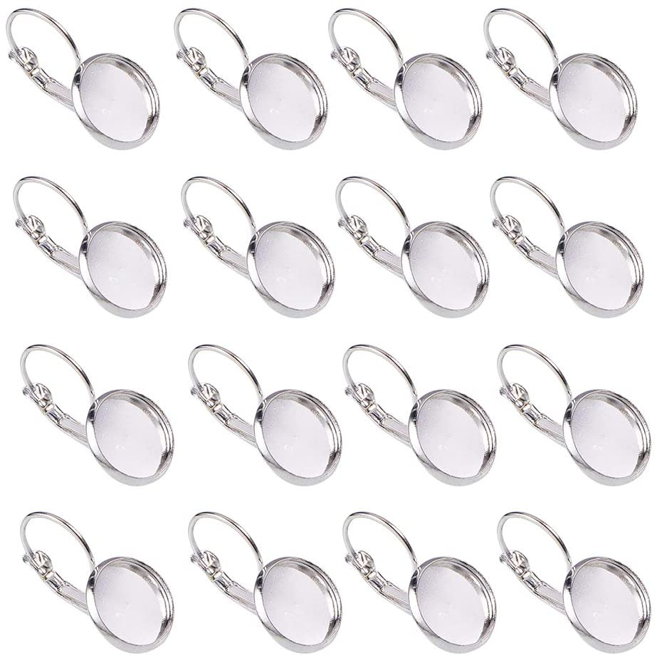 NBEADS 200 Pcs Silver Brass Lever Back Hoop Earrings Components, with Flat Round Tray Open Loop Leverback Earring Hoop for Earring Making