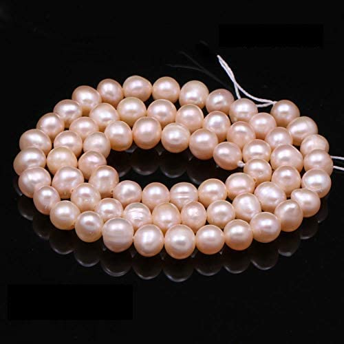 Pearl Beads, 100% Natural Freshwater Round Pearl Loose Beads (2 Strands) with Hole 5-6mm one Strand 14.2 inch for Jewelry Making Necklace Bracelet Charms…
