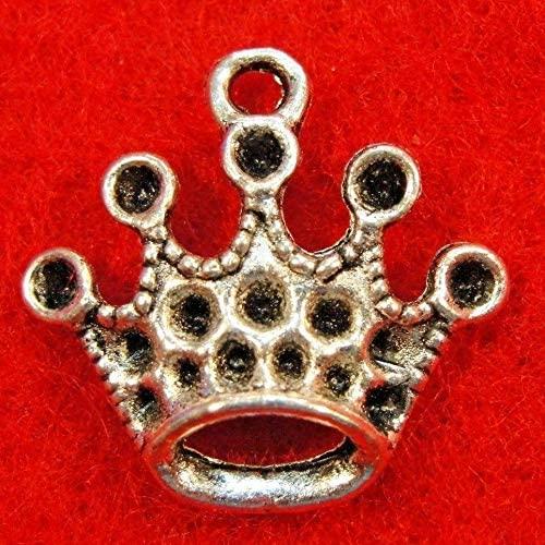 Charms Pendants - Jewelry Making DIY - Bracelet 20Pcs. Tibetan Silver King Queen Crown Earring Drops Findings PR060