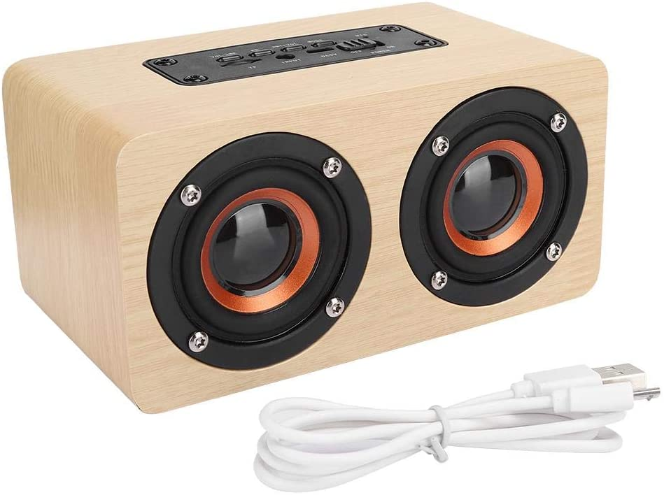 FastUU Wooden Wireless Bluetooth Speaker, Portable Light Yellow Desktop Music Player, with Metal Loudspeaker and Non-Slip Pad, for Computer Mobile Phone, Outdoor Use