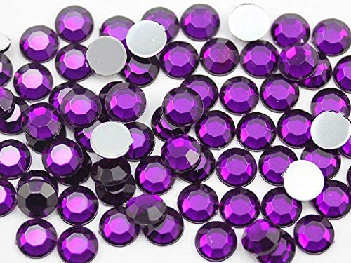 Allstarco 1000PCS 7mm SS34 Purple Amethyst .NAT02 Acrylic Flat Back Rhinestones for Jewelry Making and Face Painting Card Making Embelishments Plastic Gems