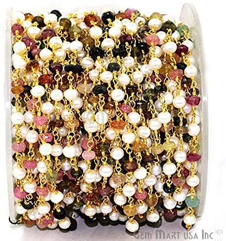 One Foot Multi Tourmaline with Pearl Gemstone Beads 24k Gold Plated Wire Wrapped Rosary Chain for Making Jewelry.(GPMT-30007)