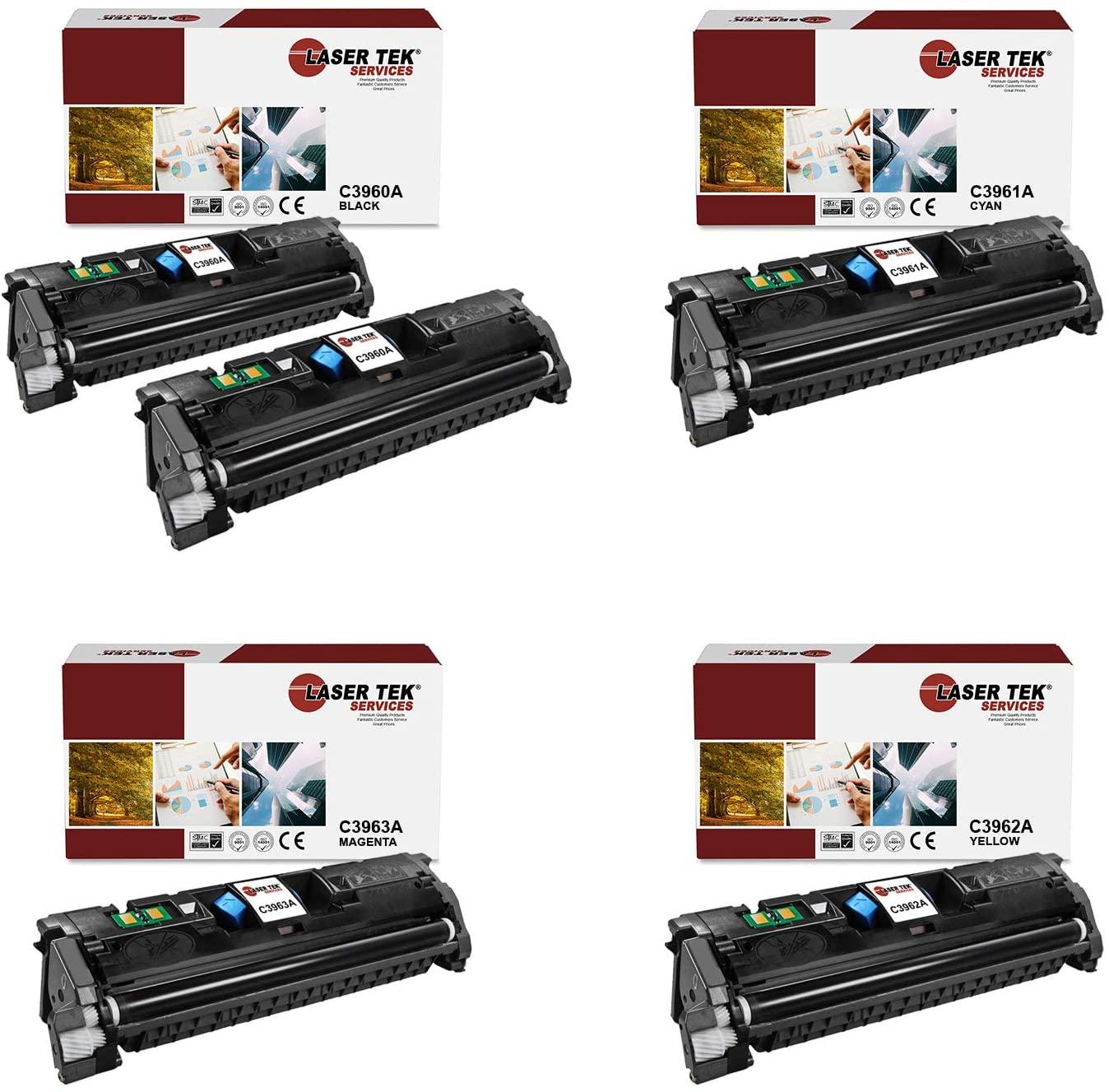 Laser Tek Services Compatible HP 122A C3960A C3961A C3962A C3963A Toner Cartridge Replacement for HP Color Laserjet 1500 1500L 2500 2500L 2500n Printers (Black, Cyan, Magenta, Yellow,5 Pack)