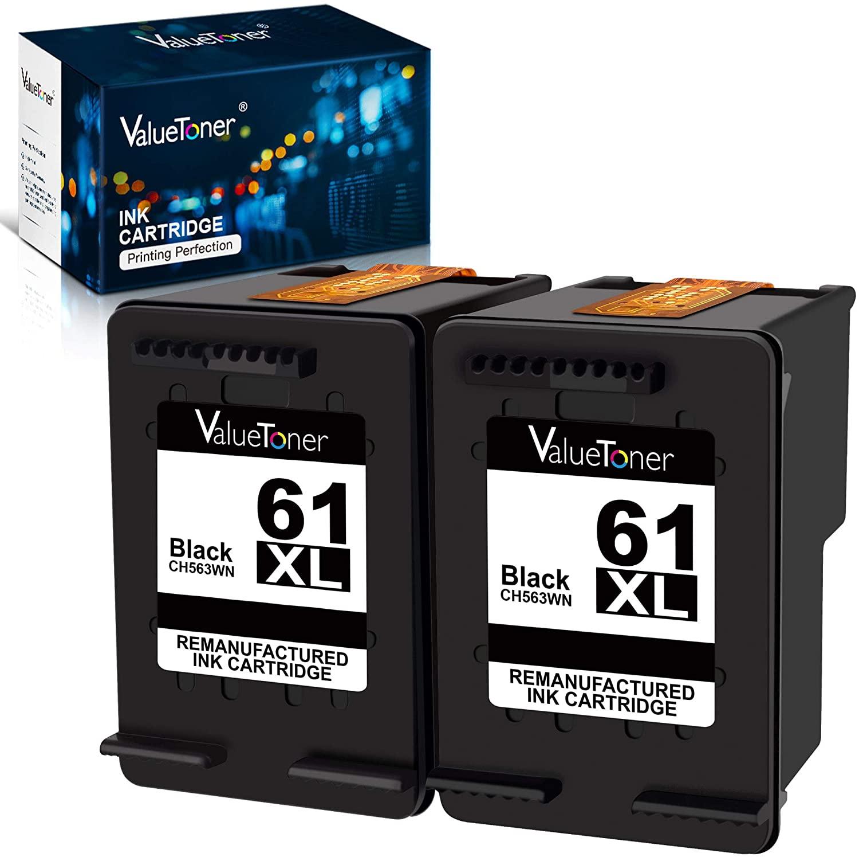 Valuetoner Remanufactured Ink Cartridge Replacement for HP 61XL 61 XL High Yield for Envy 4500 5530, Deskjet 2540 1056 1510 1000 1010, Officejet 4630 2620 4635 Printer (2 Black)