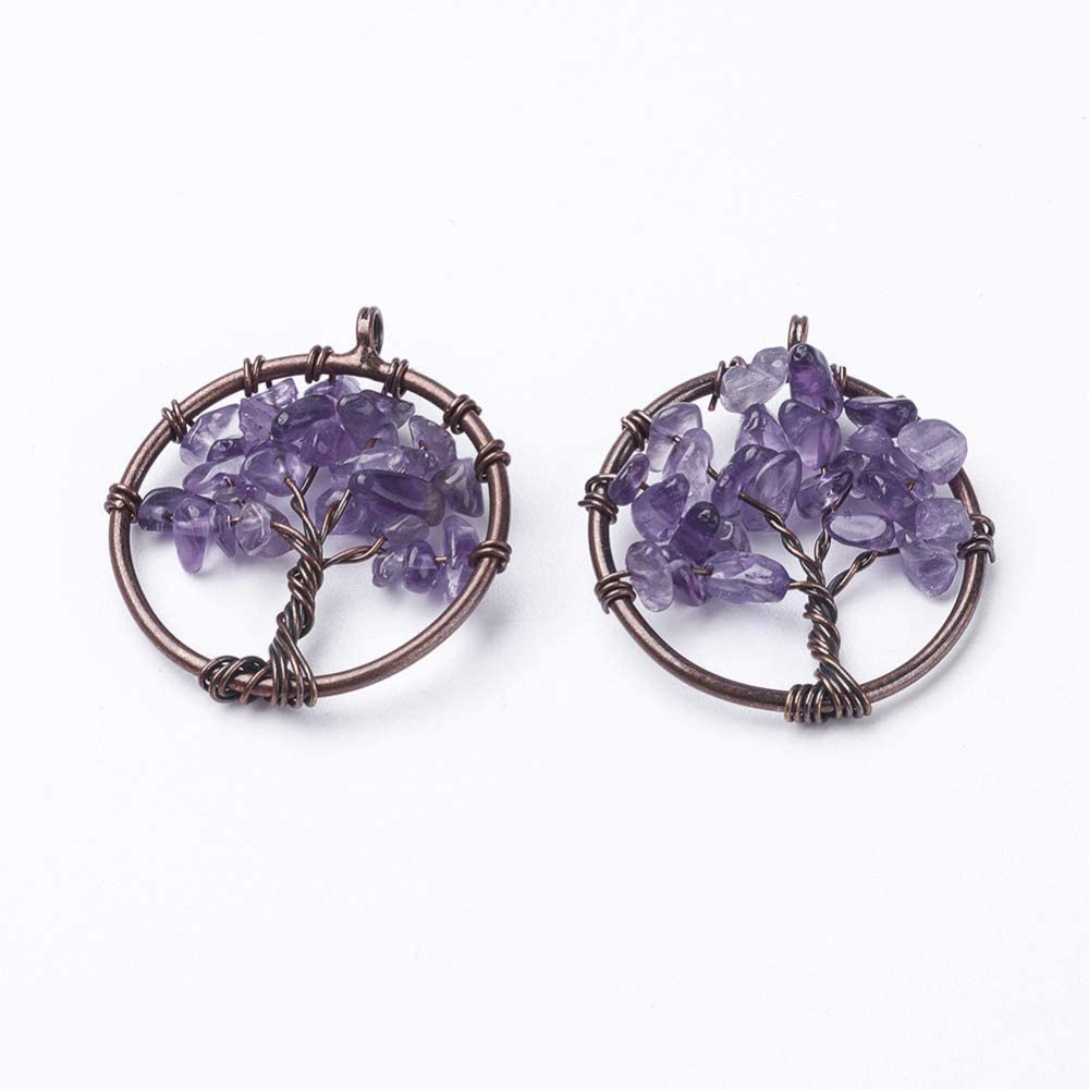 UR URLIFEHALL 10pcs Natural Amethyst Natural Gemstone Charms Pendants Tree of Life Dangle Charms with Brass Findings for Jewelry Making 29mm