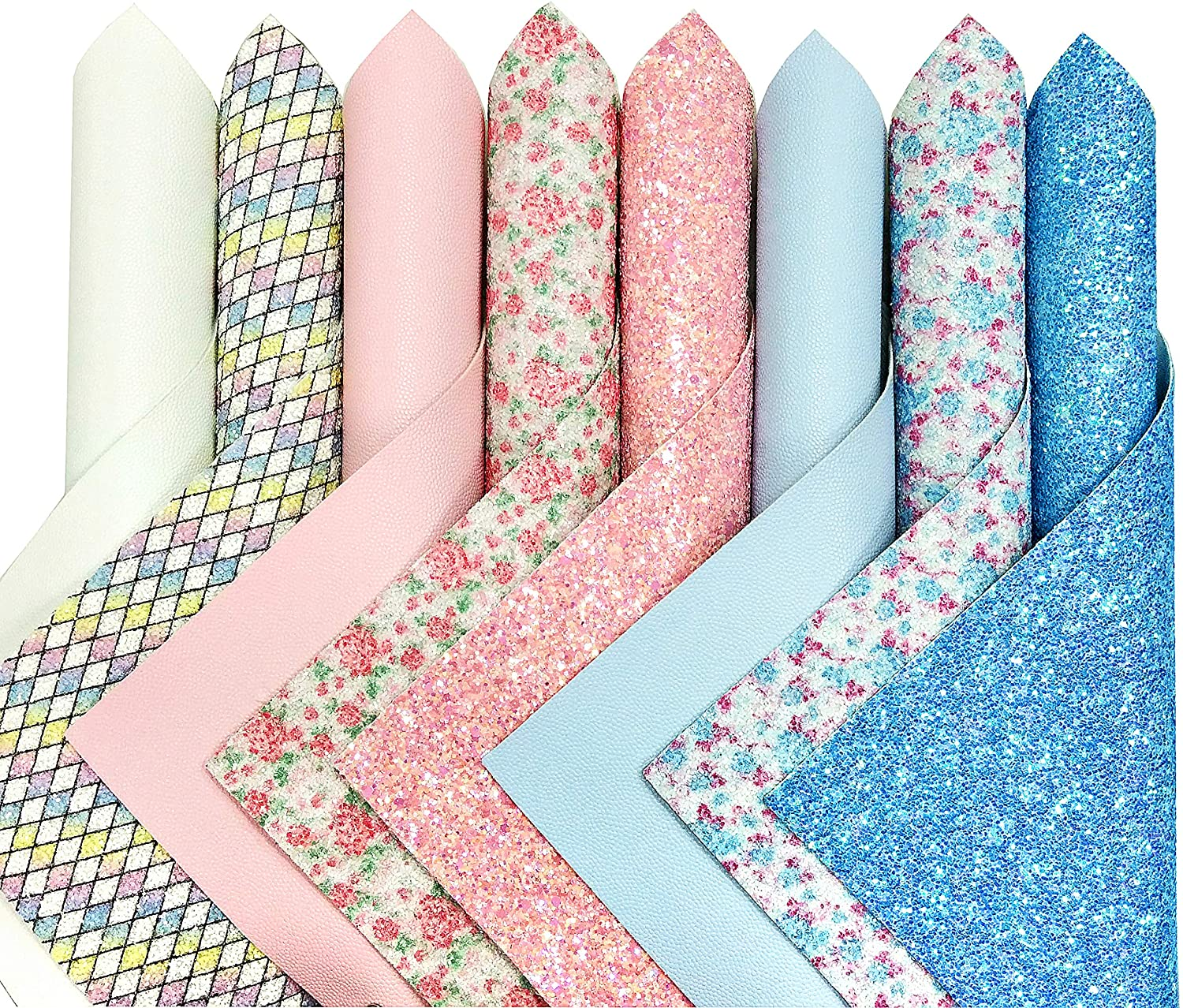 ZAIONE New Contrast Color Blue & Pink Series Faux Leather Sheets Bundle 8pcs/Set 8 x 12 Mixed Colors Solid Litchi & Floral Glitter Sheets for Earring Bows Making DIY Crafts