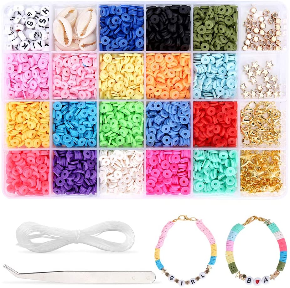 Beads for Jewelry Making – 4000Pcs Bracelet Beads – 6mm Heishi Beads with 19 Bright Colors – Premium Polymer Clay Beads for DIY Projects, Arts and Crafts, Jewelry Making