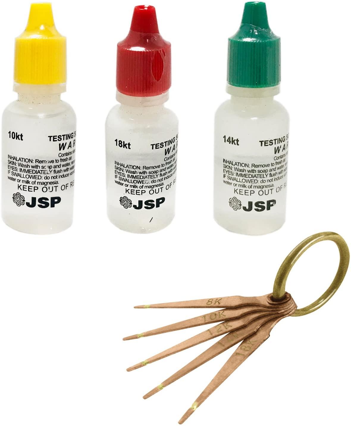 3 PCS JSP Gold Testing Solutions 10K 14K 18K and Gold Test Needles 5 Prong