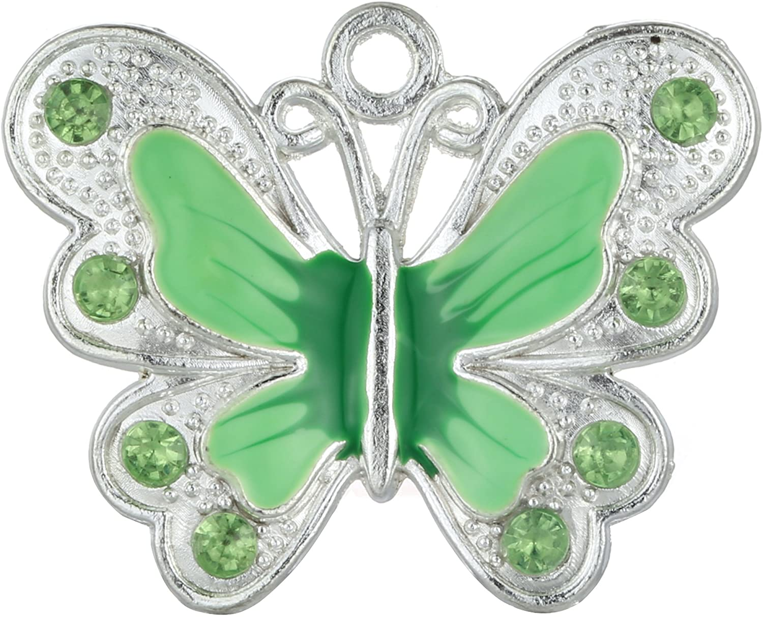 RUBYCA Silver Plated Big Butterfly Enamel Charm Beads Pendants for Jewelry Making DIY 14pcs Green