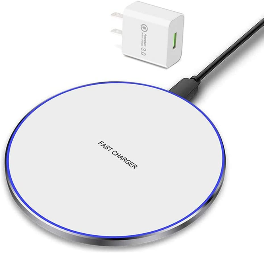 Wireless Charger,Qi-Certified 10W Max Sungseng Fast Wireless Charging Pad Compatible with iPhone 12/11/11 Pro/11 Pro Max/XR/XS/X/8,Samsung Galaxy S20/Note 10/S10/S9,AirPods Pro (White)