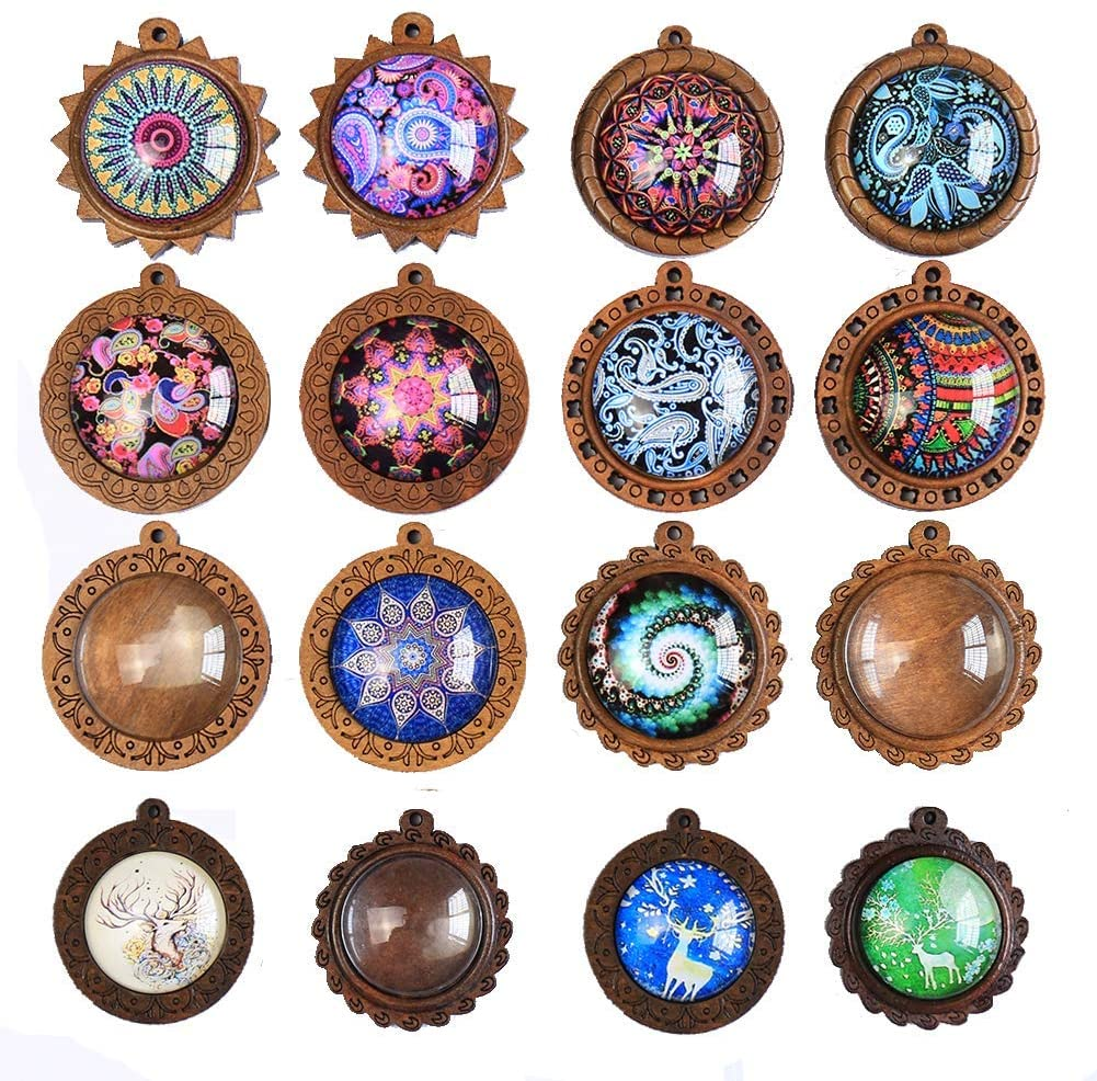 ToBeIT Bezel Pendant Trays Round Wooden and Glass Cabochon Round Clear Dome 32 pcs for DIY Crafting Photo Jewelry Making (color-B/16)