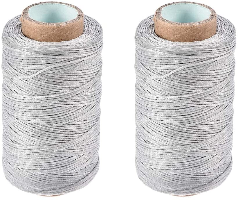 uxcell Leather Sewing Thread 273 Yards 150D/1mm Polyester Flat Waxed Cord for Hand Stitching Leather Bookbinding,Craft DIY, (Light Gray, 2pcs)