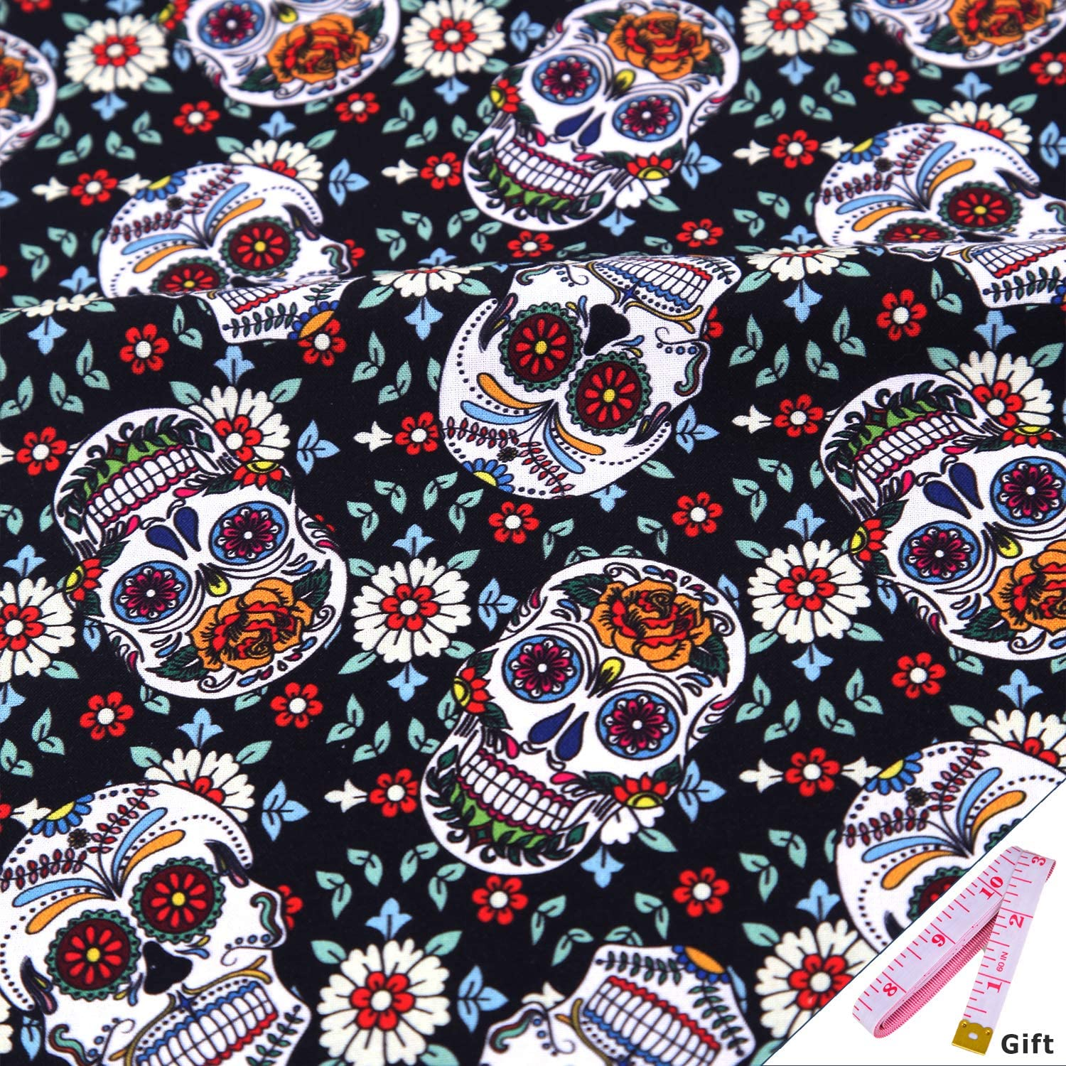 Halloween Skull Pattern Cotton Fabric by The Yard - 100% Cotton Fabric 90cmx100cm for Sewing Quilting Crafting (Black White)
