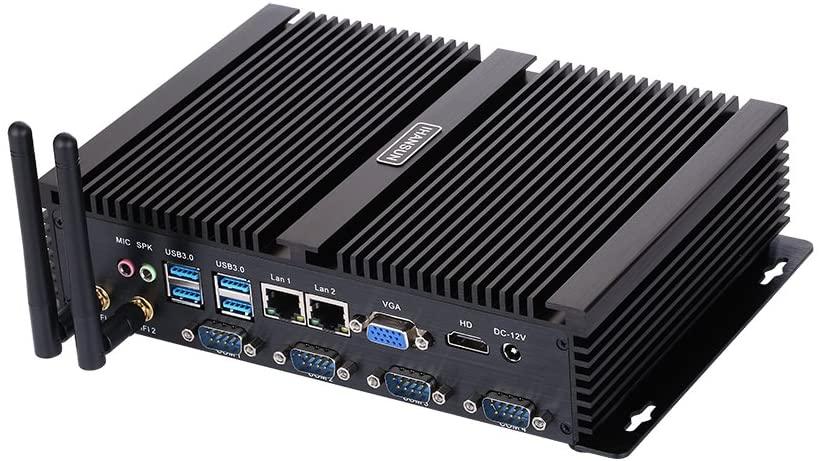 Fanless Industrial PC,Mini Computer,Windows 7/10 Pro/Linux Ubuntu,Intel Celeron 1007U,(Black),[HUNSN IM02],[64Bit/Dual Band WiFi/1VGA/1HDMI/4USB2.0/4USB3.0/2LAN/4COM],(8G RAM/512G SSD/1TB HDD)