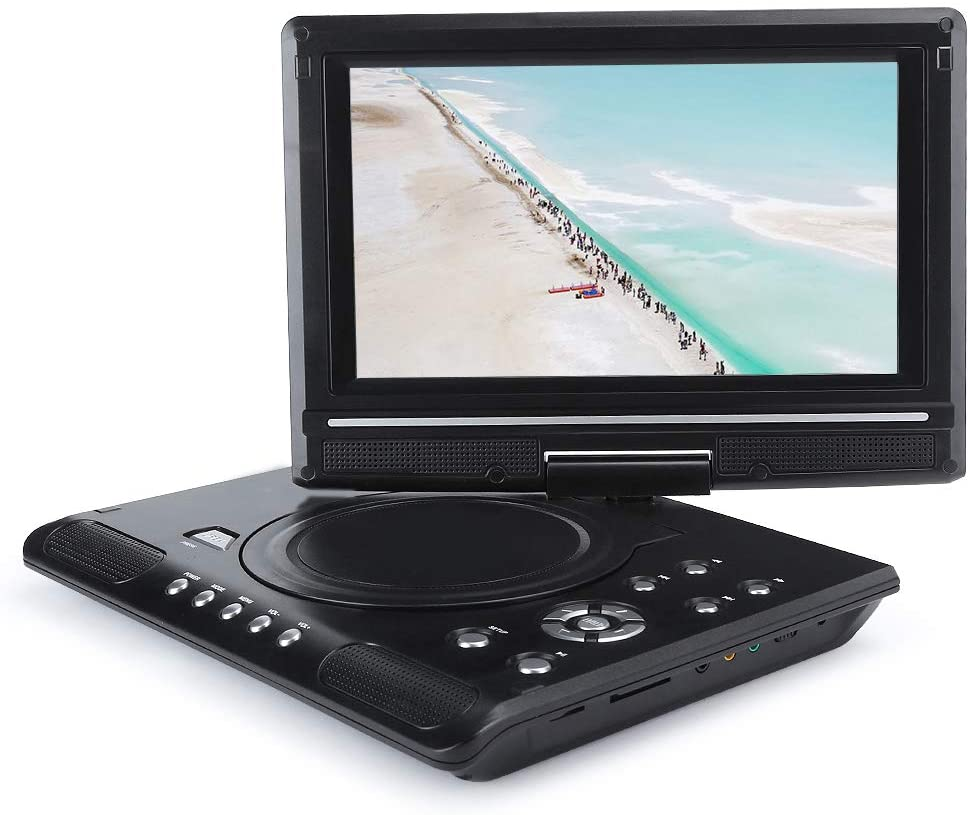 9.8 inch Portable Mobile DVD, LCD Display 16:9 Widescreen HD Player Car Travel DVD Players with Rechargeable Battery, Region-Free Video Player with 270° Rotate Screen, for Kids Elderly(Black)