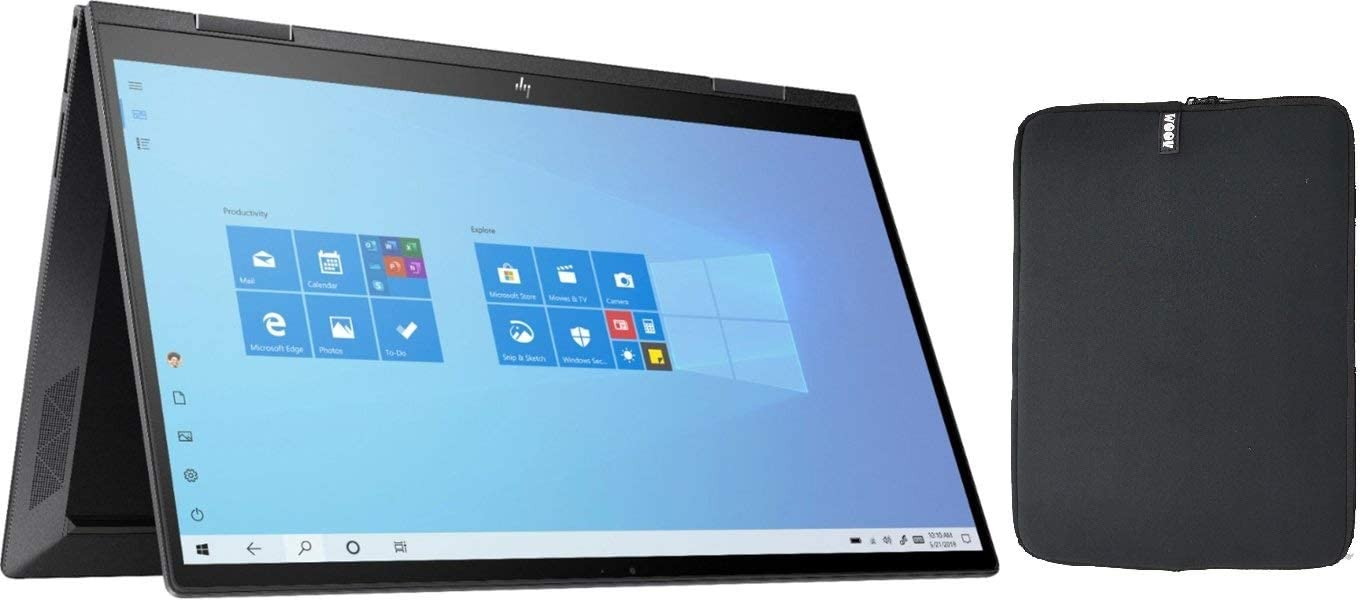 HP Envy X360 2-in-1 15.6 Inch FHD Touchscreen Laptop Bundle Woov Sleeve, AMD Six-Core Ryzen 5 4500U (Beat i7-7500U), 12GB RAM, 512GB PCIe SSD, Backlit Keyboard, Fingerprint Reader, Windows 10