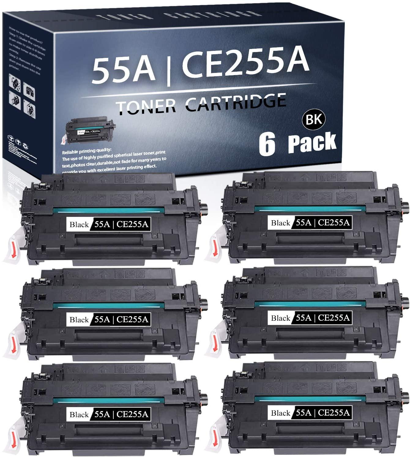 55A | CE255A(Black,6-PK) Compatible TonerCartridge Replacement forHP 55A CE255A Laserjet P3015 Pro MFP M521dn MFP M521dw Enterprise Flow MFP M525c Enterprise 500 MFP M525f Printers TonerCartridge.
