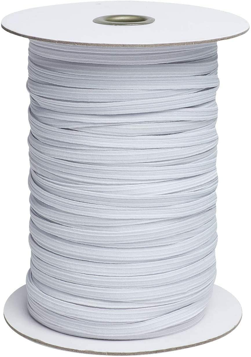 Elastic Band 1/4 inch 100yards Braided Elastic Bungee String Stretch Strap Cord Roll Carft Cord for Sewing and DIY Crafts,Cuff (100Yard,6mm, White) (1/4 inch)
