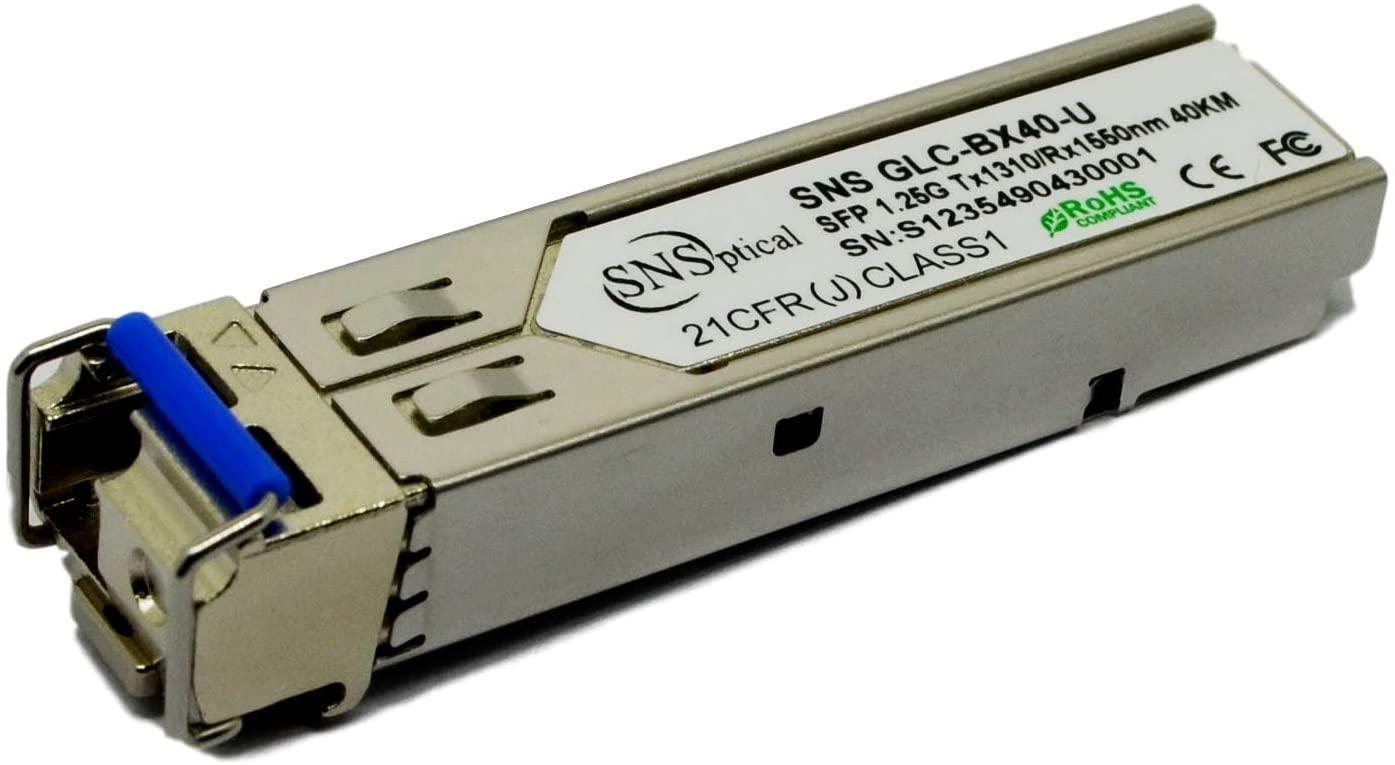 SNS SFP-GE-LH40-SM1310 Compatible with SFP-GE-LH40-SM1310 1000BASE-BX BiDi SFP 1310nm-TX/1550nm-RX 40km DOM Transceiver