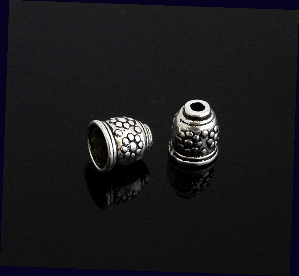 10 Antiqued Tibetan Silver 10mm Bead Cup Caps Cord Ends Terminator FindingsBeads for Jewelry Making Bracelets, Necklaces Supplies for DIY Crafts Beadwork