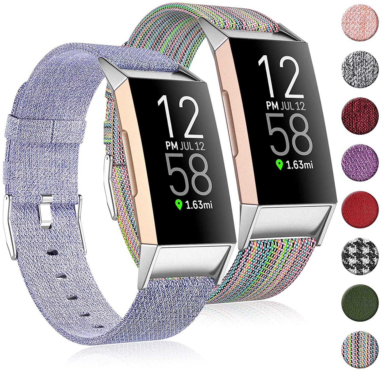 (2 Pack) Witzon Fabric Woven Bands Compatible with Fitbit Charge 4 / Charge 3 / Charge 3 SE, Breathable Canvas Replacement Straps Wristbands Accessories for Women Men, Small