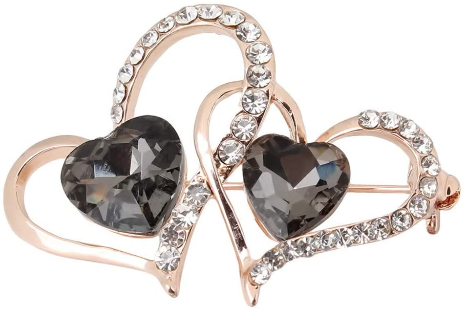 Timesuper Heart Shaped Brooch Pin Delicate Artificial Zircon Rhinestone Clothes Scarf Shawl Clip Clothes Accessories,Gray