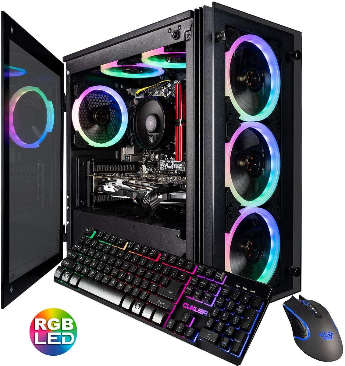 CUK Stratos Micro Gaming Desktop (Intel i7-9700F, 32GB DDR4 RAM, 1TB NVMe SSD + 2TB HDD, NVIDIA GeForce RTX 2070 8GB, 600W Gold PSU, Windows 10 Home) Gamer PC Computer