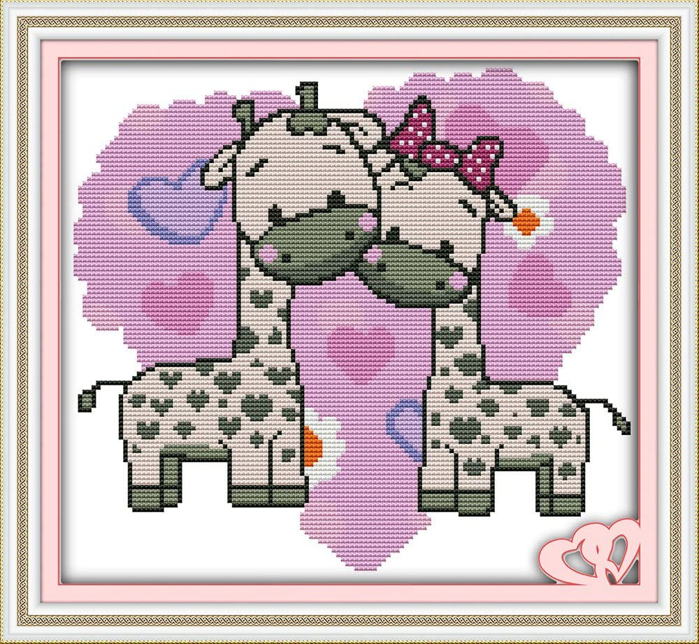 Joy Sunday Cross Stitch Kits Stamped Full Range of Embroidery Starter Kits for Beginners DIY 11CT 3 Strands-The Giraffe Couples 15.4x14.2 inch