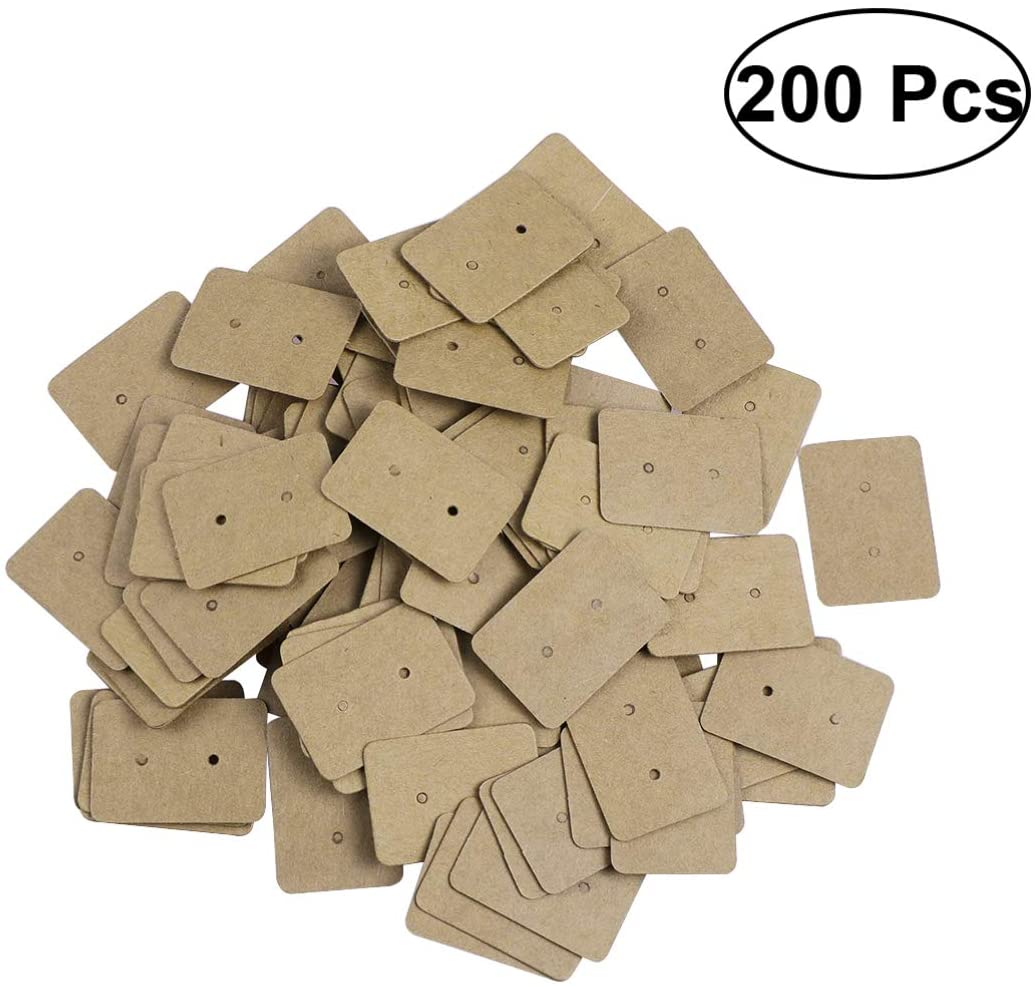 HEALLILY 200pcs Durable Multipurpose Kraft Paper Earring Display Cards Ear Stud Earring Card Earring Tags for Jewelry Displays Jewelry Price Tags
