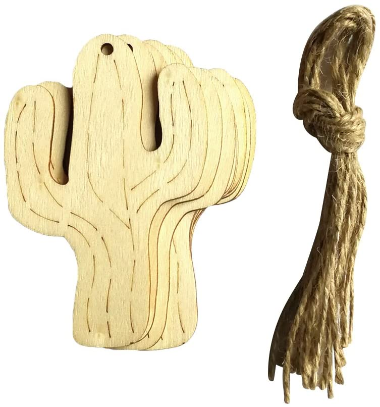 Museya Wooden Cactus Ornaments with Jute Twine Wood Craft Hanging Decoration Craft Embellishments Home Party Favor Supplies 10pcs